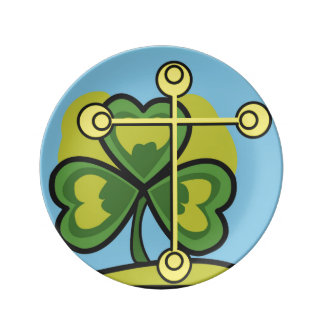 Irish Trinity Three Leaf Clover and Cross Porcelain Plates
