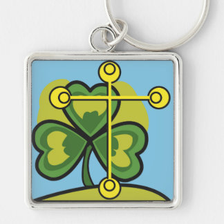 Irish Trinity Three Leaf Clover and Cross Silver-Colored Square Key Ring
