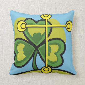 Irish Trinity Three Leaf Clover and Cross Throw Pillow