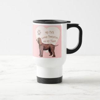 Irish Water Spaniel Pawprints On My Heart Travel Mug
