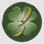 Irish Wedding Monogram Z Envelope Seal Classic Round Sticker