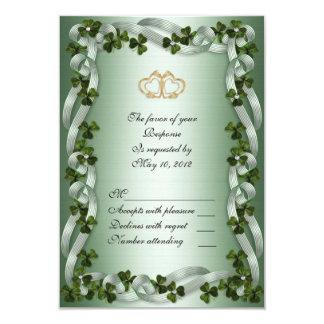 Irish wedding RSVP card shamrocks 9 Cm X 13 Cm Invitation Card