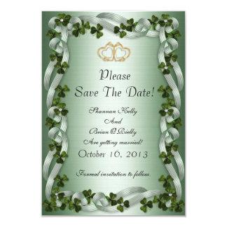 Irish wedding save the date shamrocks and ribbons card