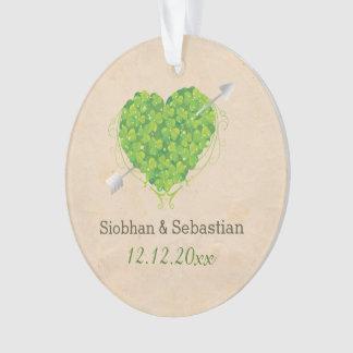 Irish Wedding Shamrock Heart Ornament