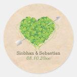 Irish Wedding Shamrock Heart Round Sticker