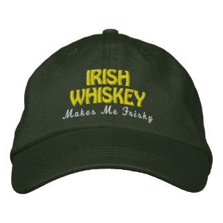IRISH Whiskey Frisky Pine Green Hat Gold Stitch Embroidered Hats