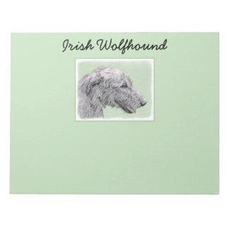 Irish Wolfhound 2 Painting - Cute Original Dog Art Notepad