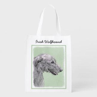 Irish Wolfhound 2 Painting - Cute Original Dog Art Reusable Grocery Bag