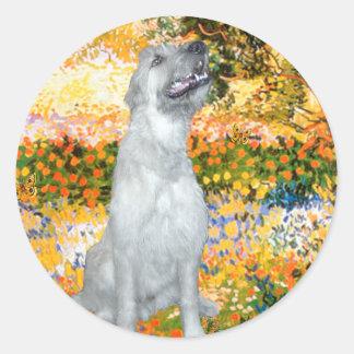 Irish Wolfhound 4 - Garden (VG) Classic Round Sticker
