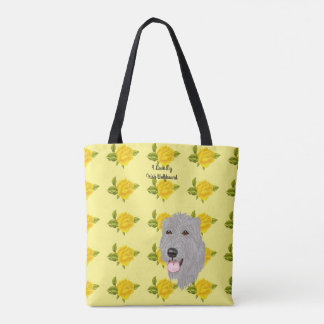 Irish Wolfhound and Yellow Roses [Med] Tote Bag