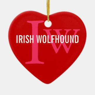 Irish Wolfhound Breed Monogram Ceramic Heart Decoration