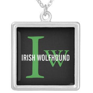 Irish Wolfhound Breed Monogram Square Pendant Necklace