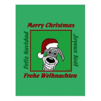 Irish Wolfhound Christmas Postcard