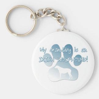 Irish Wolfhound Granddog Basic Round Button Key Ring