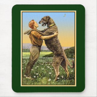 """Irish Wolfhound Greeting"" Mouse Pad"