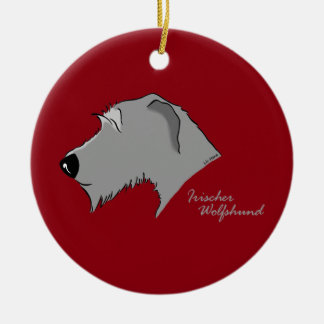 Irish Wolfhound head silhouette Ceramic Ornament