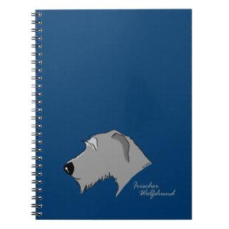Irish Wolfhound head silhouette Spiral Note Book