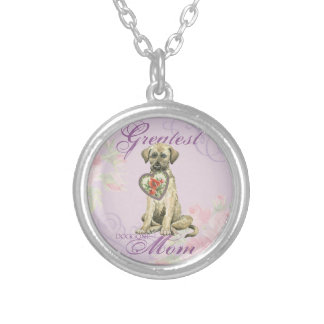 Irish Wolfhound Heart Mom Silver Plated Necklace