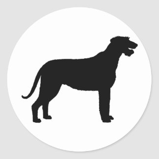 Irish Wolfhound (in black) Classic Round Sticker