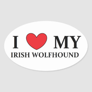irish wolfhound love oval sticker