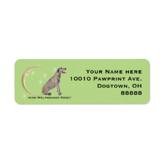 Irish Wolfhound, Moon and Stars Return Address Label