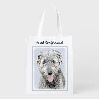 Irish Wolfhound Painting - Cute Original Dog Art Reusable Grocery Bag