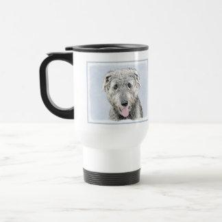 Irish Wolfhound Painting - Cute Original Dog Art Travel Mug