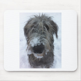 irish wolfhound playing in the snow mousepads