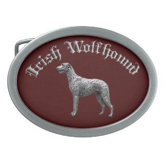 Irish Wolfhound Round Belt Buckle (Red/Silver)