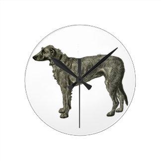 Irish wolfhound round clock