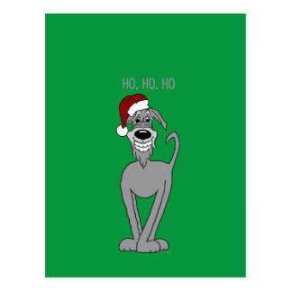 Irish Wolfhound Santa Postcard