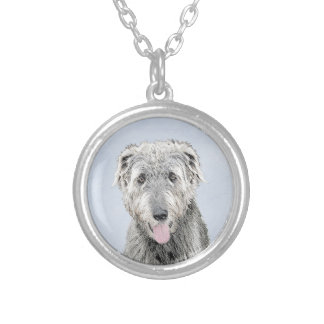 Irish Wolfhound Silver Plated Necklace