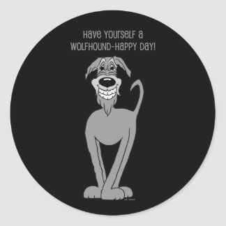 Irish Wolfhound Smile Classic Round Sticker