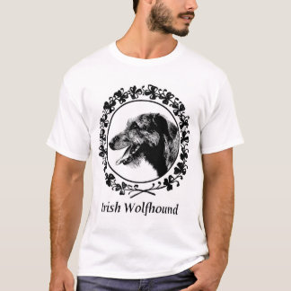 Irish Wolfhound with Shamrocks Apparel T-Shirt