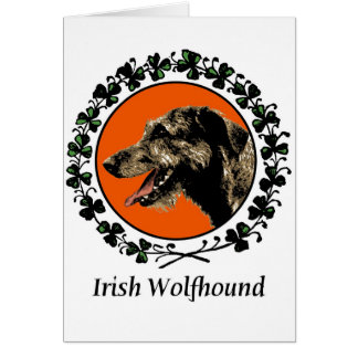 Irish Wolfhound with Shamrocks Greeting Card