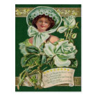 Irish Woman Rose Shamrock Clay Pipe Harp Postcard