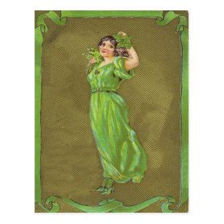 Irish Woman Shamrock Postcard