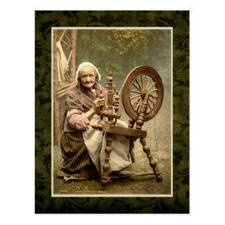 Irish Woman With Her Spinning Wheel Postcard