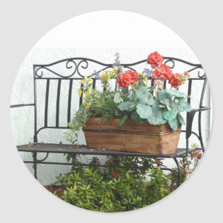Iron Bench &  basket of Flowers. Classic Round Sticker