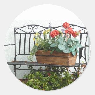 Iron Bench &  basket of Flowers. Round Sticker