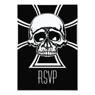 Iron Cross Military Emblem Skull Design by Beatty 9 Cm X 13 Cm Invitation Card