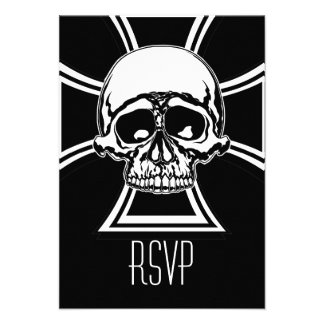 Iron Cross Military Emblem Skull Design by Beatty Personalized Invites