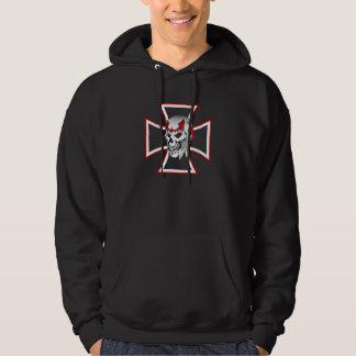 Iron Cross Skull graphic design men's hoodie