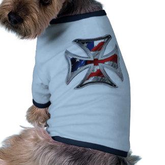 Iron Cross w/ American Flag Doggie Tee Shirt