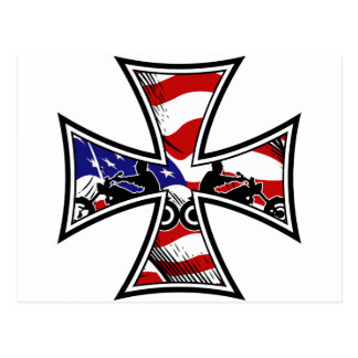 Iron Cross with American Flag and Bikers Postcard