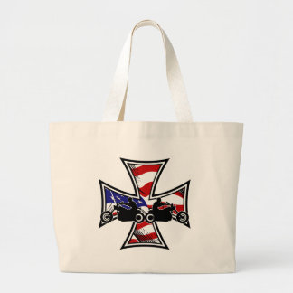 Iron Cross with American Flag and Bikers Canvas Bag