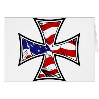 Iron Cross with American Flag Greeting Card