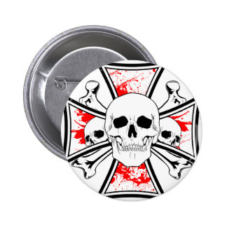 Iron Cross with Skulls and Cross Bones 6 Cm Round Badge