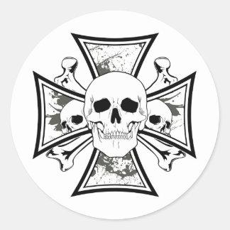 Iron Cross with Skulls and Cross Bones Stickers