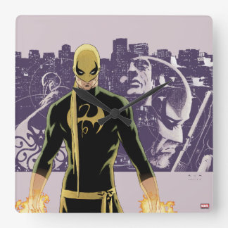 Iron Fist City Silhouette Square Wall Clock